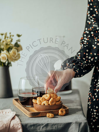 Taralli or tarallini and red wine on the table