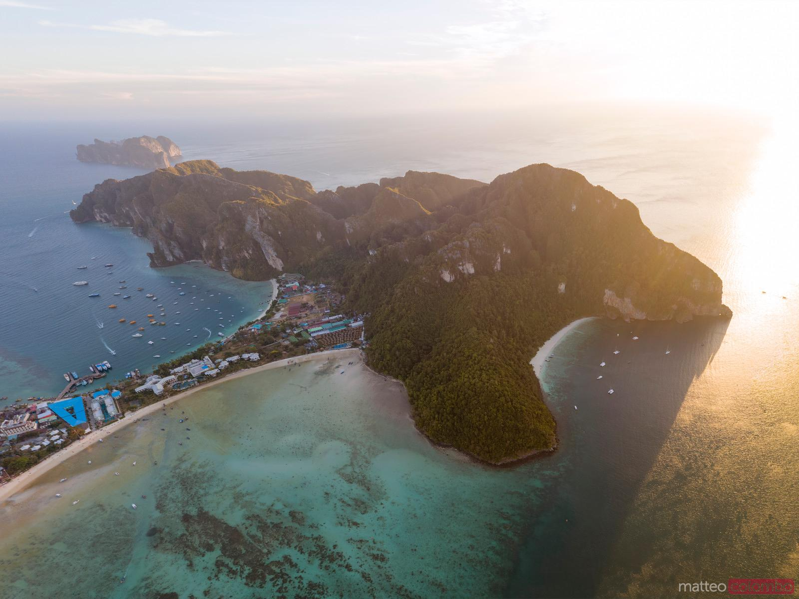 Aerial view of Ko Phi Phi Don island at sunset, Thailand