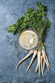 Parsnip soup with butter sauce