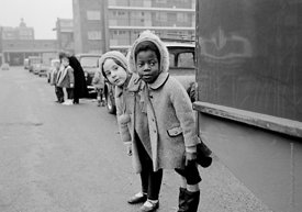 #77322,  Kids learning road safety and how to cross a road, Vittoria Primary School, Islington, London.  1970.