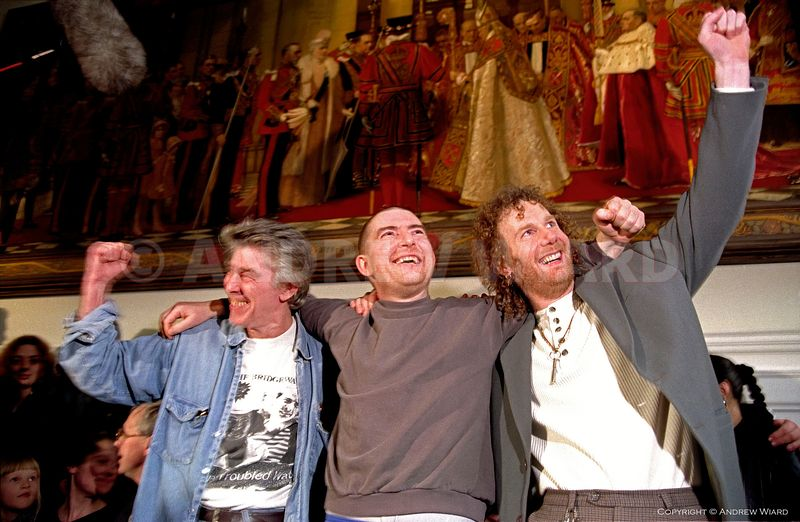 England, UK. 21.2.1997. London. 'Bridgewater Three' freed. L-R James Robinson and cousins Vincent and Michael Hickey, who wer...