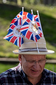 #124675  The flags on his hat celebrate the Queen's Diamond wedding in 2012.  One of the Brexiteers (in favour of Brexit) dem...