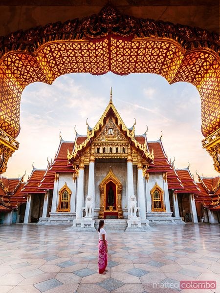 Tourist at the Marble Temple, Bangkok, Thailand