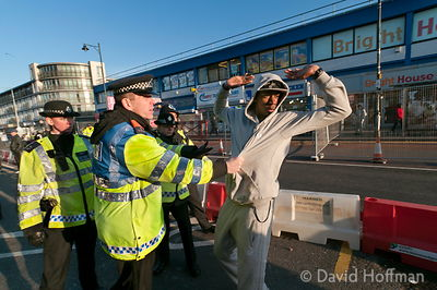 English Defence League (EDL) protest march through Barking, outer London, 14 January 2012.