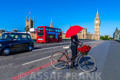 bicycle on Westminster bridge, London, UK