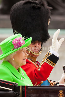 Prince Philip waving to the Crowd as he and The Queen return to Buckingham Palace in a Barouche Carriage