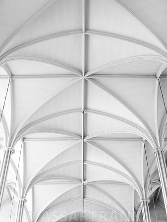 Architectural geometric lines on a church ceiling