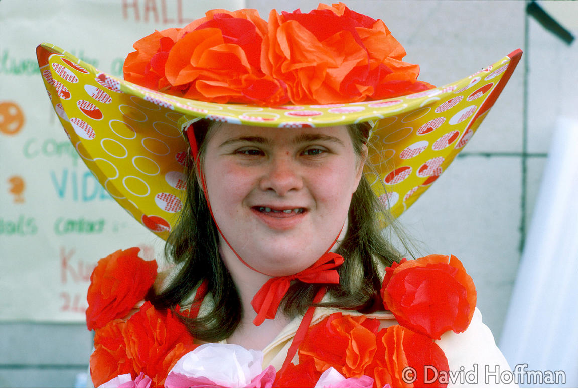 Young Downs syndrome girl at community festival, Spitalfields, London. © David Hoffman phone 020 8981 5041, fax 020 8980 2041...