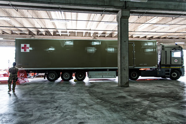 In the hangar of Melilli Nato base, the freezer truck containing the migrant victims bodies that still have to be analysed at...