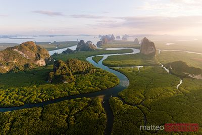 Aerial view of river and karst peaks, Phang Nga bay, Thailand