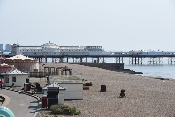 Coronavirus - Brighton & Hove- Easter Weekend...Pictured is a deserted Brighton Seafront on Easter Saturday during the Corona...