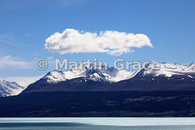 Looking approximately NNE over Lake Pukaki to the Southern Alps, Canterbury, South Island, New Zealand