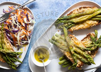 Toasted cheese and asparagus on sourdough with rainbow salad.