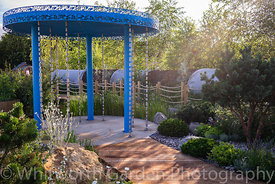 The Thames Water Flourishing Future Garden designed by Tony Woods at the RHS Hampton Court Palace Garden Festival 2019. Spons...