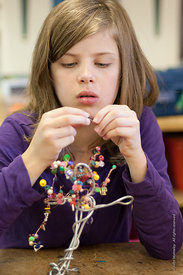 #72966,  Making jewellery and ornaments, Summerhill School, Leiston, Suffolk. The school was founded by A.S.Neill in 1921 and...