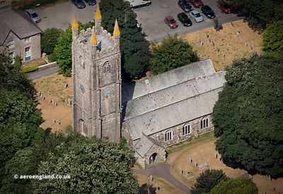 Church of St Clarus , Parish Church of St Cleer   Cornwall from the air
