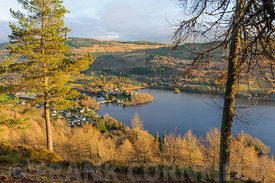 View of the village of Kenmore in Pertshire, Scotland from Drummond Hill in autumn.