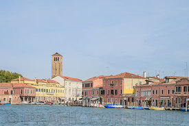 MURANO, VENICE, ITALY - 17 NOVEMBER 2017: Approaching Murano by vaporetto stop for public water buses in Venice, Italy known ...