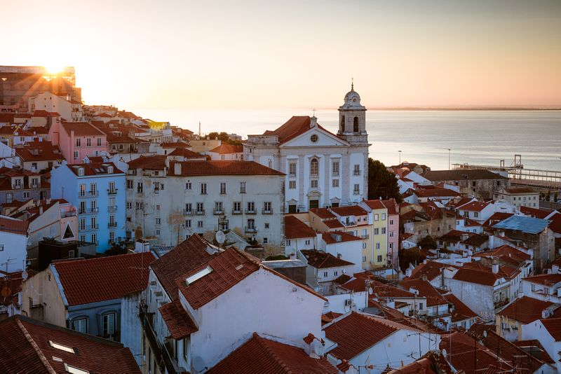 Sunrise over the old town, Alfama, Lisbon, Portugal