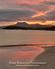 Image - Sunrise at Mellon Udrigle beach, Gruinard Bay, Wester Ross, Highland, Scotland.  View to Beinn Ghobhlach over Gruinar...