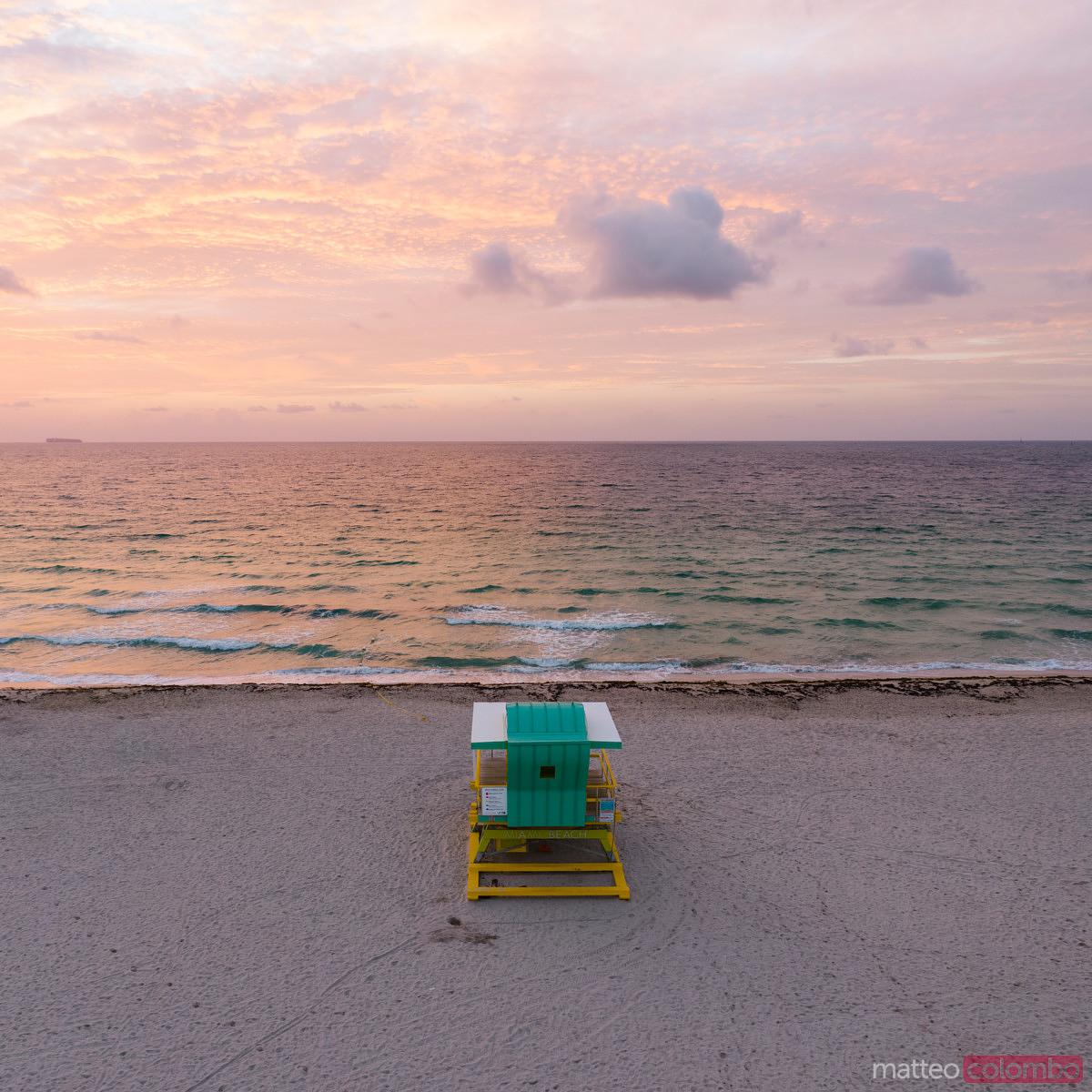 Top view of lifeguard cabin at sunrise, South beach, Miami