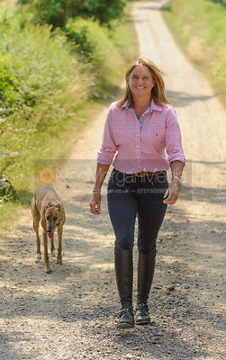 Piggy walking up the back drive with Lurch