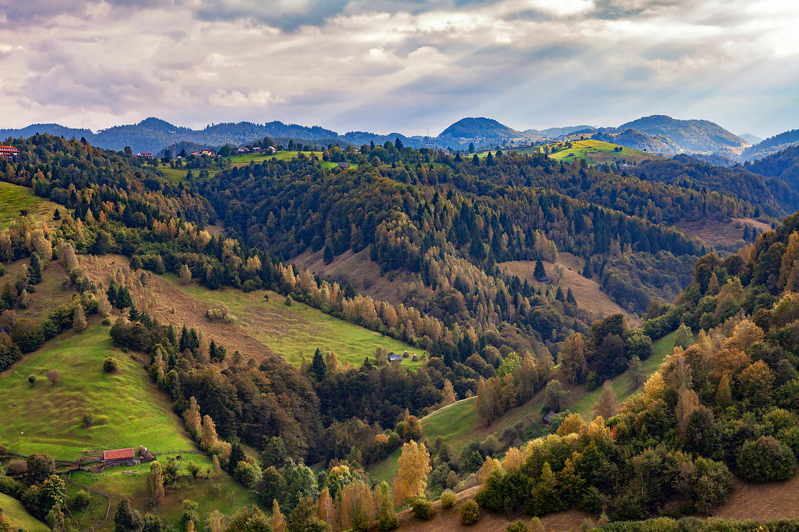 Carpathian mountain range in Transylvania