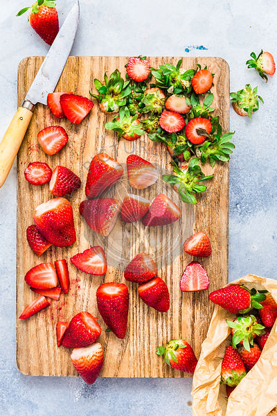 Fresh Strawberries on a wooden board