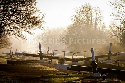 The Hatton flight of locks on a misty morning