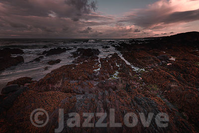 Dawn scene on Pembrokeshire coast, South Wales,UK with beautiful morning light on scenic rocky beach during low tide in Fresh...