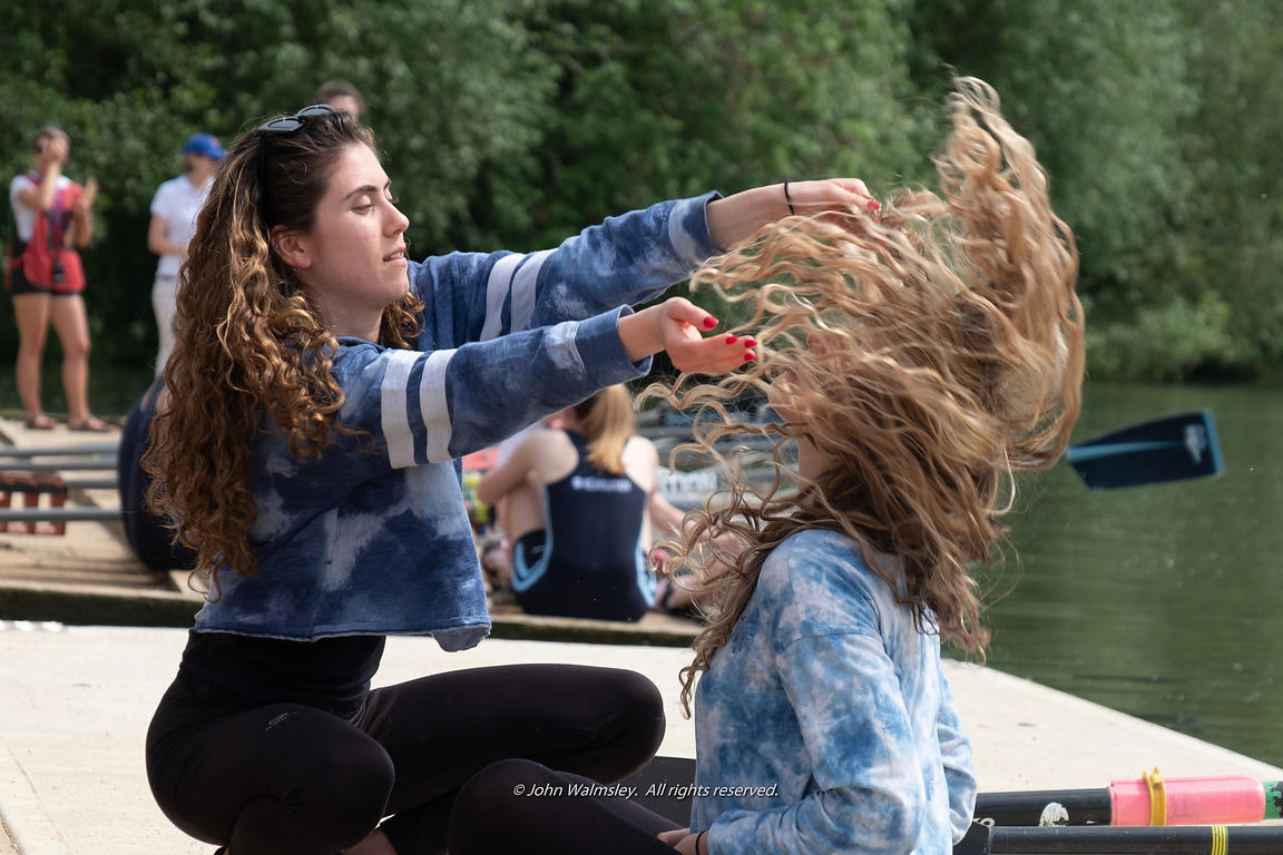 #124926  Hair, hair, everywhere during the 'Summer Eights', a week of rowing races for the Oxford University Colleges on the ...