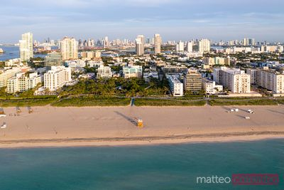 Aerial view of Miami beach and downtown at sunrise