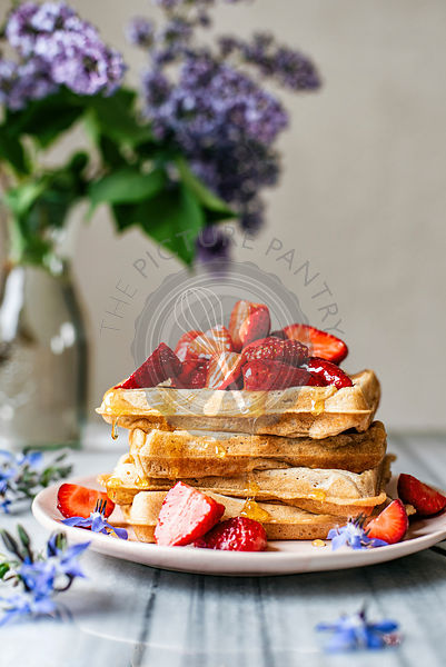 Strawberry Topped Waffles