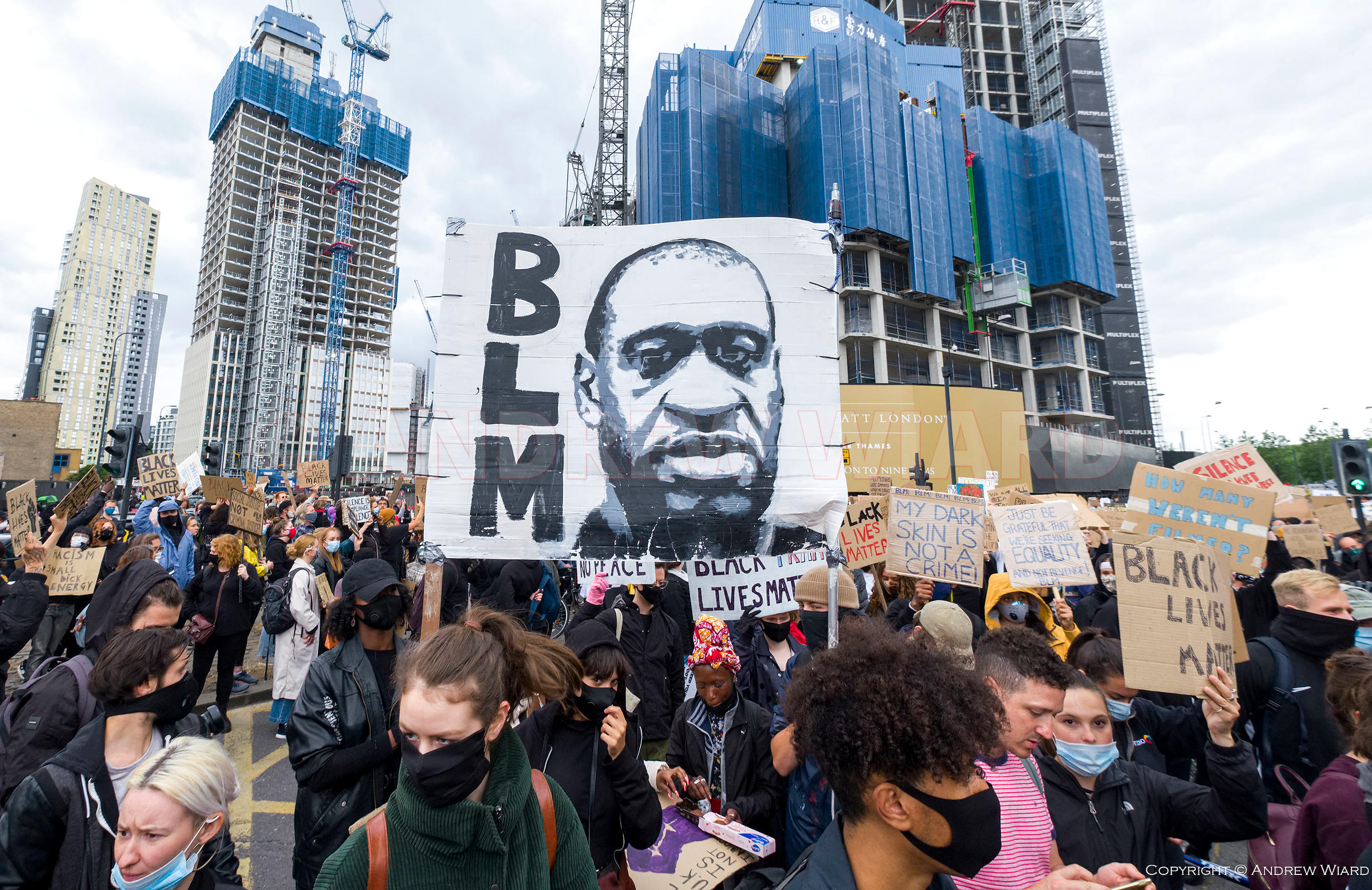 England, UK. 7.6.2020. London. Black Lives Matter demonstration against racial discrimination and police brutality following ...