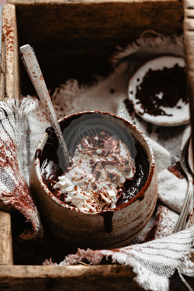 Hot chocolate into a rustic bowl