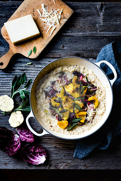 Risotto with roasted delicata squash, radicchio and cheese.