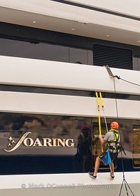 crew,superyacht,washing down,safety harness,soaring,abeking and rasmussen,Genoa