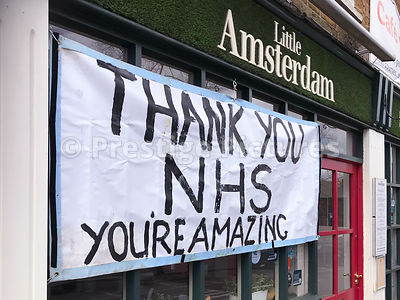 Little Amsterdam restaurant with banner thanking the NHS during the coronavirus pandemic