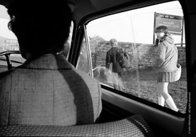 #83605,  Teacher driving to school in the morning, Whitworth Comprehensive School, Whitworth, Lancashire.  1970.  Shot for th...