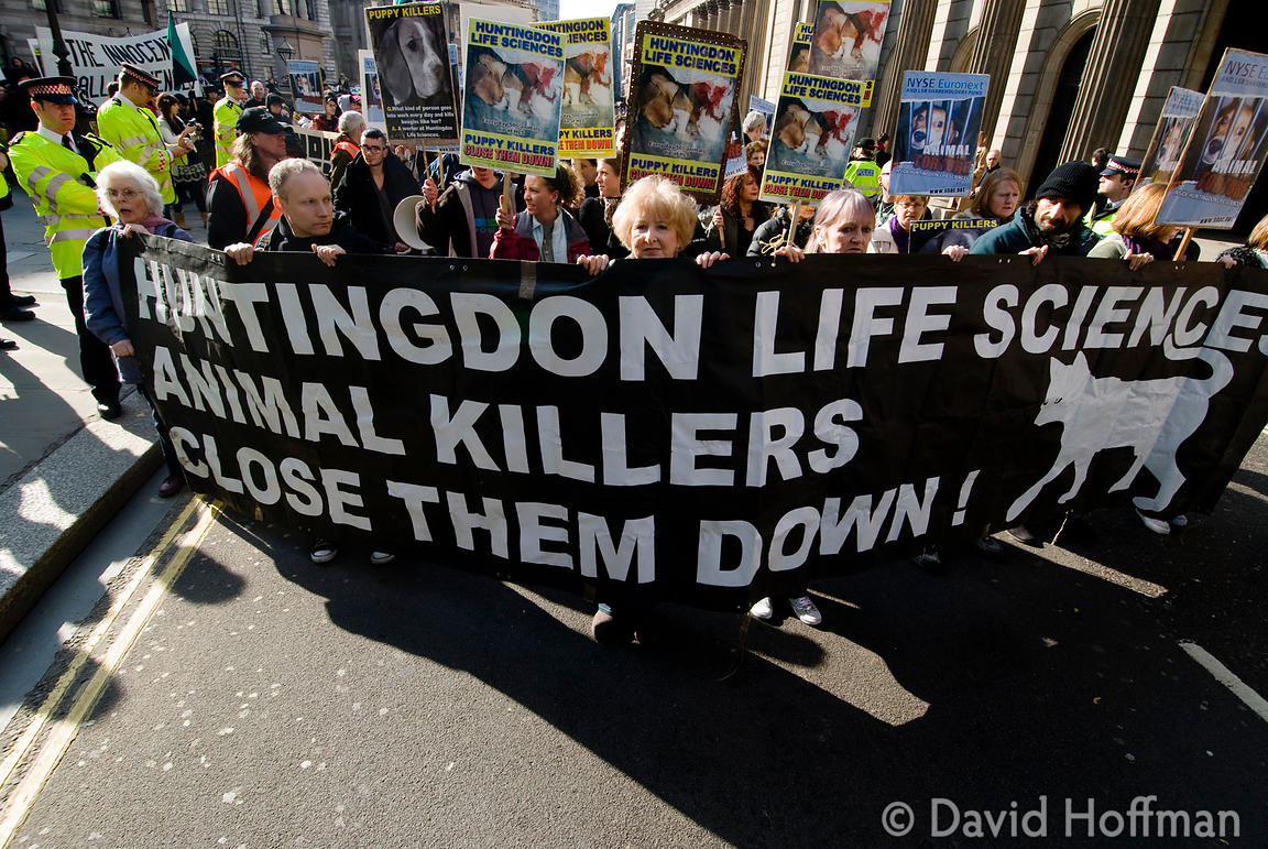 SHAC protest against Huntingdon Life Sciences in City of London 27 Feb 09