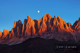 Mountain impression Geisler Peaks with full moon - Europe, Italy, Trentino-Alto Adige, South Tyrol, Puez-Geisler Nature Park,...