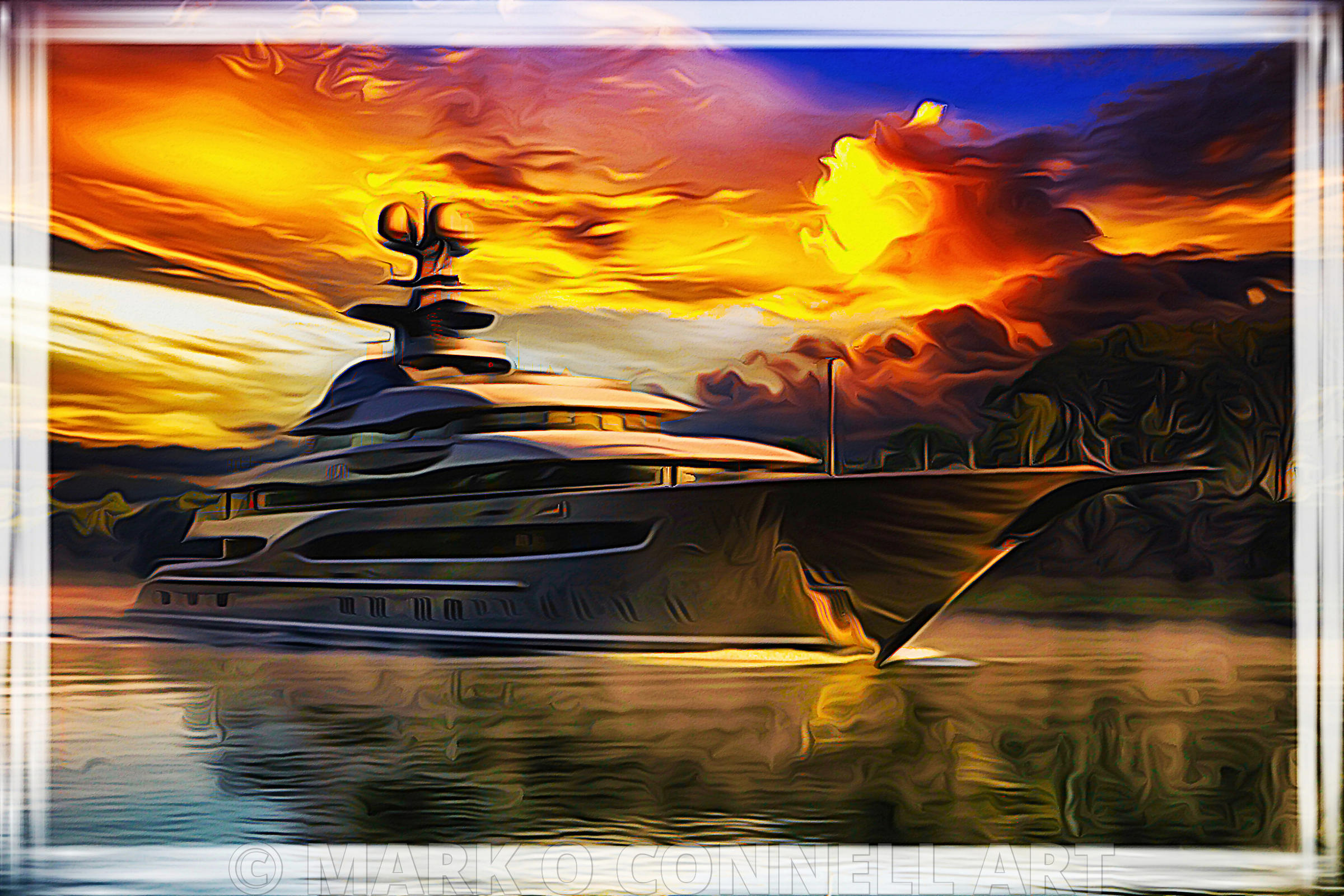 art,painting,airbrush,kismet,lurssen,superyacht,river,sunset,reflection,water,abstract