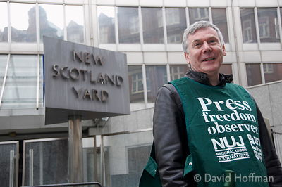 John Toner, Freelance Organiser, at an NUJ protest outside the headquarters of the Metropolitan Police