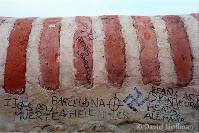 Racist graffiti, Alcazar Gardens,Antequerra, Spain September 2001.