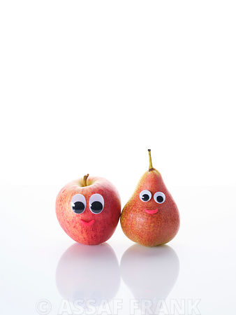 Pear and Apple with funny eyes