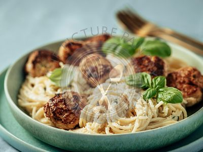 Zucchini Parmesan Meatballs with Pasta Carbonara