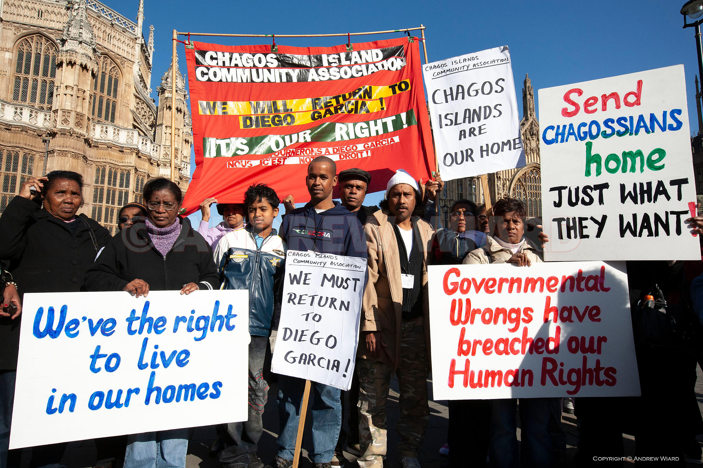 Chagos islanders, evicted from the archipelago to make way for the US base on Diego Garcia, demand the the right to return to...