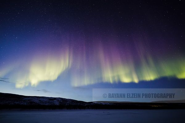 Green and purple northern lights during the blue hour in Utjsoki, Lapland