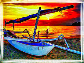 abstract, airbrush, art, bali, beach, boat, indonesia, ocean, outrigger, painting, people, sea, sunset, water, waves