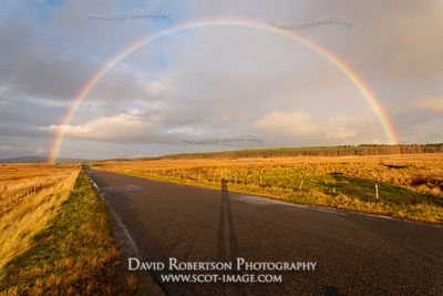 Image - Rainbow and road, Lairg, Sutherland, Scotland